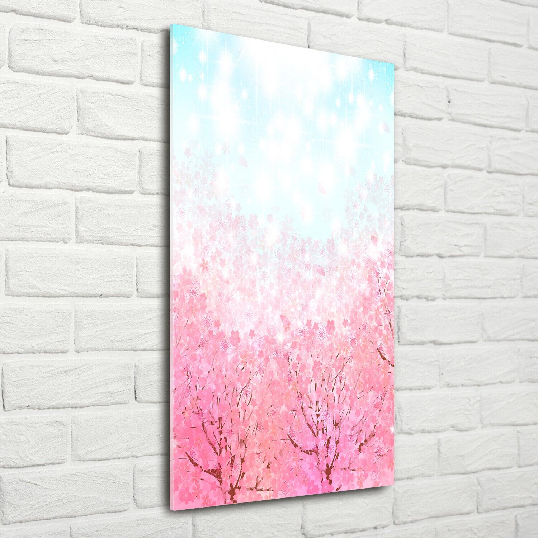 Wandbild Druck auf Plexiglas® Acryl Hochformat 70x140 Kirschblüten
