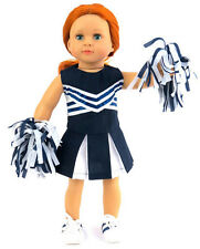 """Navy & White Cheer Leader with Pom Poms made for 18"""" American Girl Doll Clothes"""