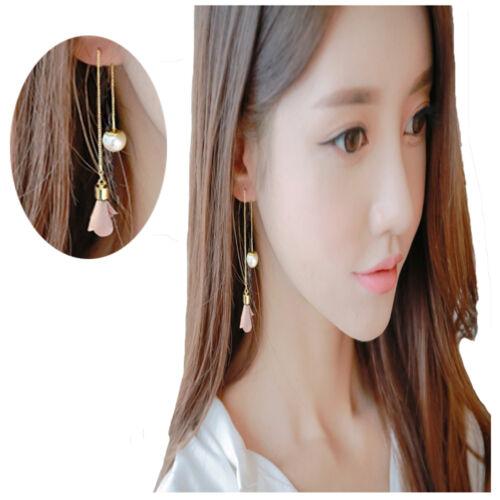 Femmes Neuf Long Tassel Tissu Fleur Perle Pendentif Dangle Boucle d/'oreille oreille ligne
