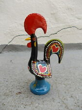 $ Vintage hand painted metal Good Luck Rooster Portugal Mascot