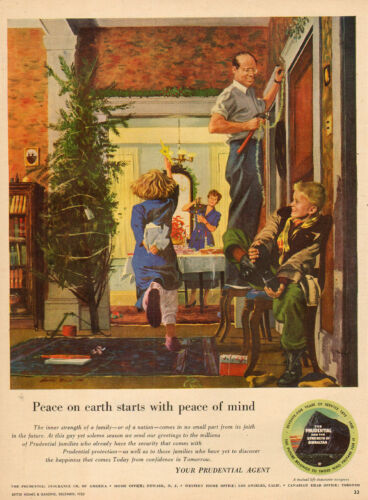 1950 vintage Christmas AD Prudential Insurance Great Art Putting up Tree 103016