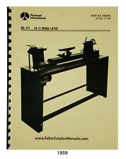 Rockwell 1411 Wood Lathe 46 150 Amp Others Instruction Amp Parts List Manual 1959