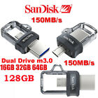 SanDisk 16/32/64/128GB OTG Ultra Dual M3.0 USB3.0 Flash Drive Memory Stick lot