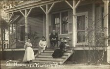 Southern Pines NC Family on Steps House of a Hundred Pines Real Photo Postcard