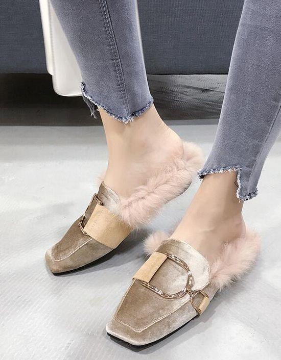 Bottes chaussons sabot beige doux chaudes laine polaire fourrure comme cuir 1461