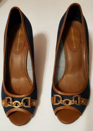 Tommy Hilfiger Navy Canvas Cork Heel Wedges Gold … - image 1