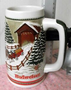 """1984 Budweiser Collectible stein """"Hitch Passing Through Covered Bridge"""" Vintage"""