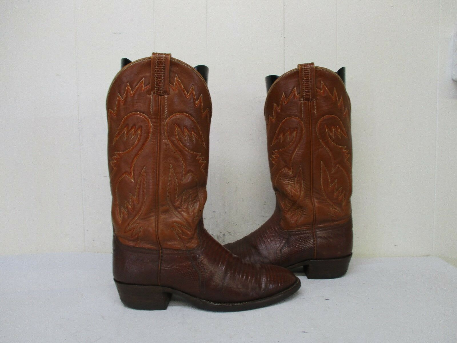 MILLER STOCKMAN Brown Lizard Leather Cowboy Boots Mens Work Soles Size 8.5 D
