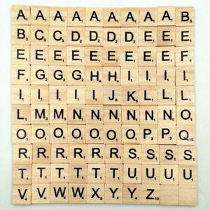 1f7ed52f3416 Image is loading 100Pcs-Wooden-Alphabet-Scrabble-Tiles-Black-Letters-amp-
