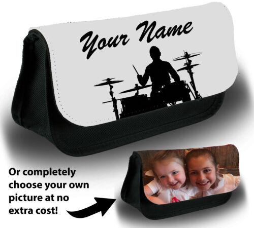 Personalised Drummer Pencil Case Bag Stationery Drum Set Kit Band Drummer XA54
