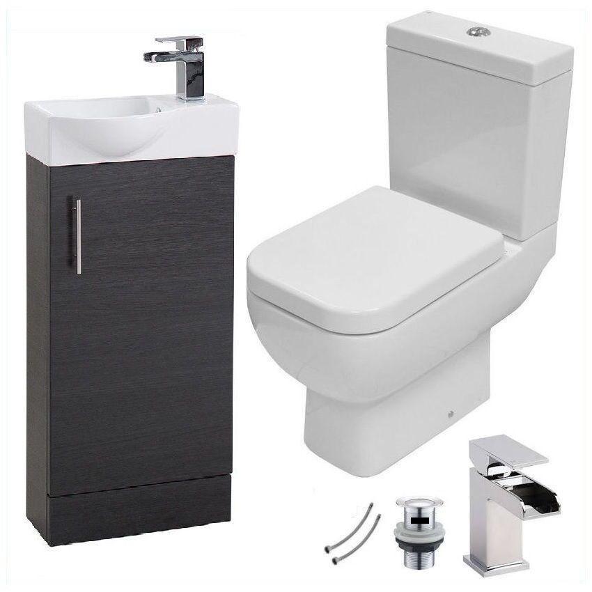Compact Compact Compact Vestiaire Slimline Frêne noir 400 MM Vanity Unité & Tap & RAK 600 wc toilette | Outlet  364e4d