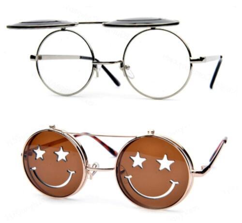 Retro Runde Bunt Gläser 90s Steampunk Sonnenbrille UV400 Lennon Ozzy Grunge