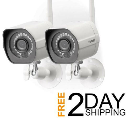 2 Pack Zmodo Wireless Security Camera System Smart Home HD w// Night Vision