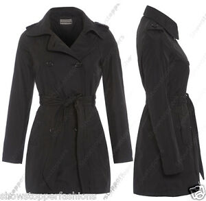 Talla 8 10 12 14 16 mujer lona MAC MUJER gabardina chaqueta negro ... 2b6456b9bb09