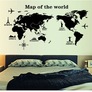 Air plane travel world map art mural removable decal home decor wall image is loading air plane travel world map art mural removable gumiabroncs Images