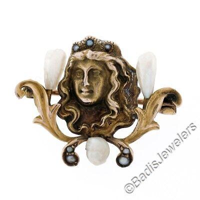 Antik Jugendstil 10K Gold Natürlich Perlen Petite Nymphe Ziselieren Pin Brosche   eBay