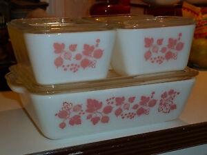 Vintage Glass Pyrex Pink Gooseberry Refrigerator Baking