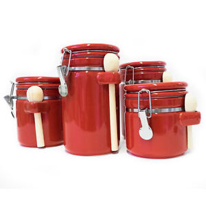 Details About Red 4 Piece Round Ceramic Canister Set With Flip Lock Seal Lids Wood Spoons