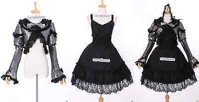 M-3191 S/M/L/XL/XXL Stretch schwarz Gothic Lolita Cosplay Kleid Bolero dress