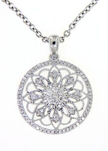 0-25CT-Real-Cluster-Diamond-Floral-Vintage-Round-Pendant-Jewelry-14K-White-Gold