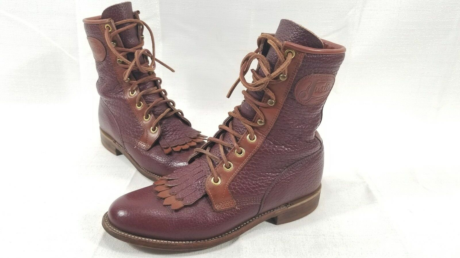Original Justin Lacer Womens Womens Womens Size 5 B Dark Red Brown Lace Up Kiltie Boots ac241b