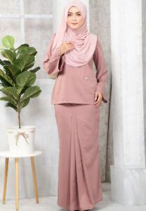 Fashion-Women-Plain-Long-Sleeve-Plus-Skirt-Casual-Office-Wear-Kurung-Kedah-Pink