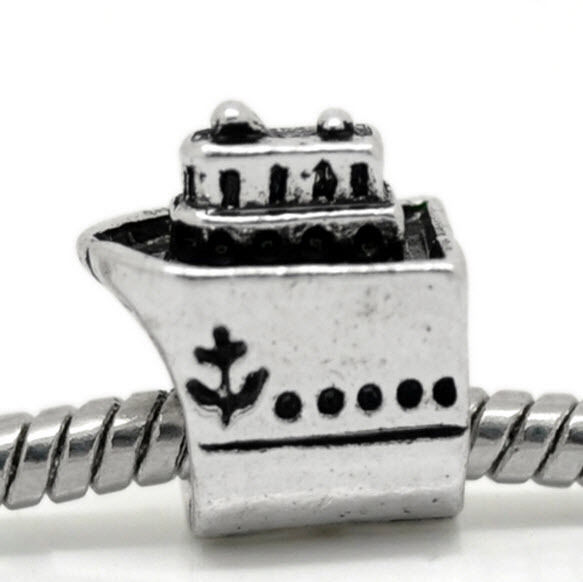 Cruise Ship Travel Vacation Boat Yacht Charm For Silver European Bead Bracelets