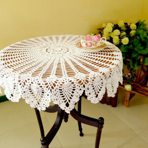 White-Vintage-Round-Tablecloth-Hand-Crochet-Cotton-Lace-Table-Cloth-Wedding-90cm