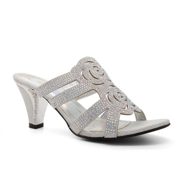 46fdd32b2b26 Womens Ladies Diamante Wedding Low Mid Heel Sandals Evening Shoes ...