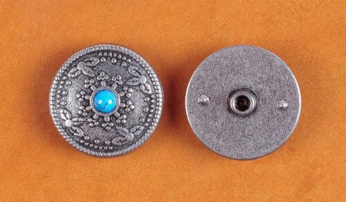10PC 26MM Bule Turquoise Sunburst Old Silver Floral Rope Leathercraft Conchos