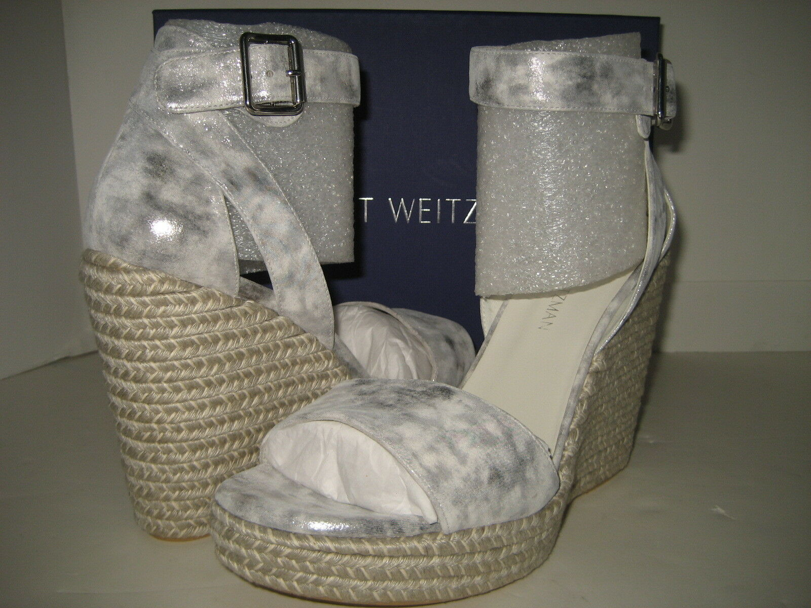 ti aspetto  398 NEW Stuart Weitzman donna US 11 Mostly Lead Lead Lead Clouded Wedge Sandals scarpe BX  preferenziale
