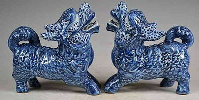 Old Decorated Handwork Carved Porcelain Lions Statue Pair