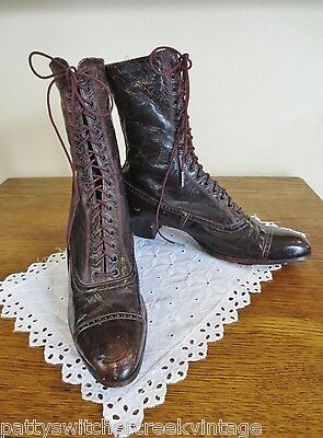 Antique Authentic Victorian Era Ladies Lace Up Brown Leather Working Boots