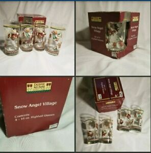 Set-4-Sakura-Oneida-Debbie-Mumm-Snowman-Angel-Village-Highball-Drinking-Glasses