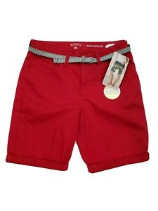Lee Riders Womens Size 10 Shorts Bermuda Cotton Blend Red High Waist NEW NWT
