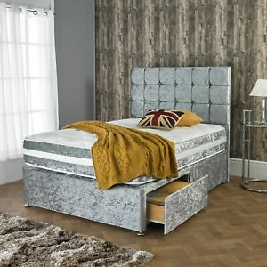 NEW-CRUSHED-VELVET-DIVAN-BED-WITH-MATCHING-MATTRESS-AND-FREE-20-034-HEADBOARD