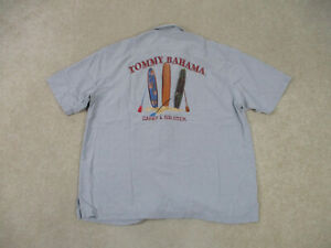 Tommy Bahama Button Up Shirt Adult Extra Large Gray Carry A Big Stick Surf Mens
