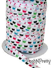 Designer 3 Yards 5/8 Print Fold Over Elastic Stretch FOE - Cupcake Sprinkles