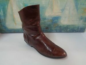 Western Pull On Brown Faux Leather Ankle Boots, Size 7.5M
