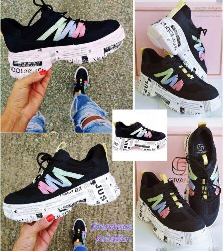 Nuevo talla 40 súper fácil sneakers fuente-suela detalles de color negro-multicolor Italy