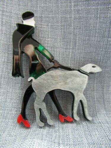 Vintage BROOCH HANDMADE Lady walking Dog walker  Resin acrylic bakelite replica