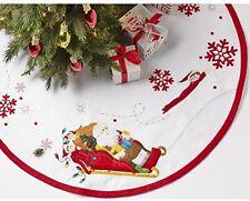 Bucilla Santa And Scout Elf Tree Skirt Felt Applique Kit-43-inch Round