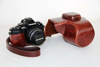 PU Leather Camera Case Bag Cover For Olympus OM-D EM10 OMD E-M10 Brown