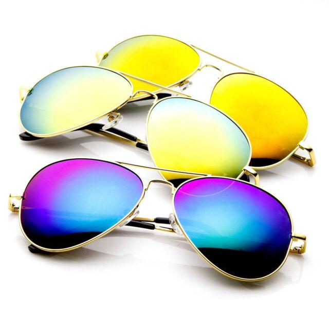1a5b898afc7e 3 Pack (GOLD SET) Premium Full Flash Mirrored Spring Temple Aviator  Sunglasses