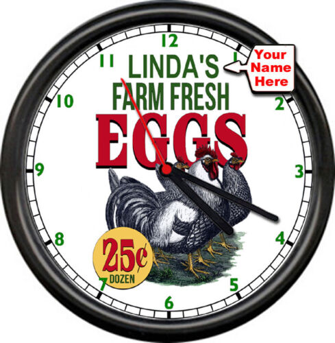 Personalized Your Name Farm Fresh Eggs Chicken Farmer Kitchen Sign Wall Clock