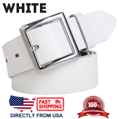 Classic Square Buckle Handcrafted Genuine Leather Belt Women/'s Jean Belt