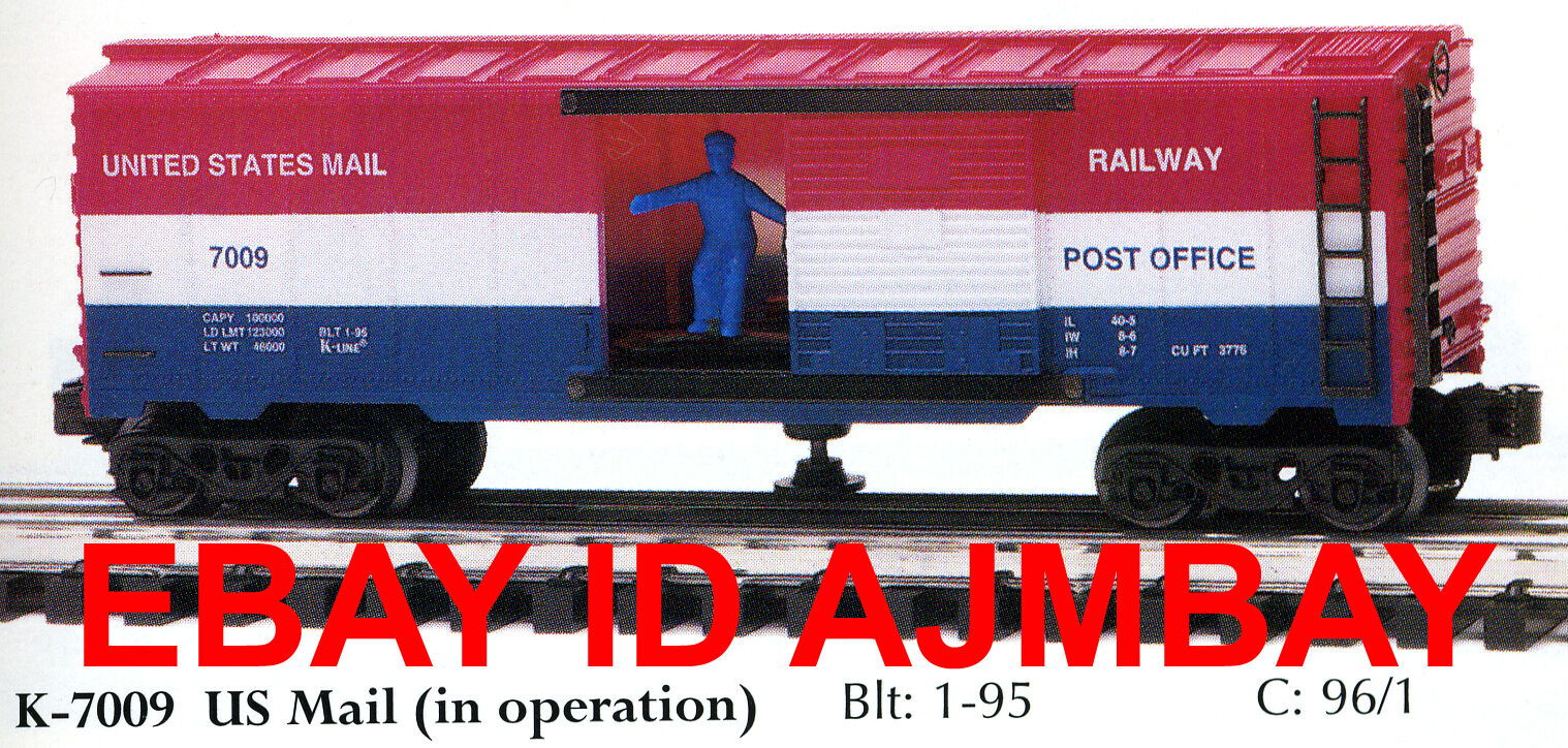K-LINE 7005, 7006, 7008 & 7009 OPERATING BOXCARS  NEW IN THEIR BOXES  (1990)
