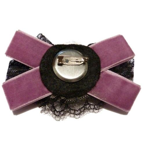 Broche velours dentelle perles nacré fimo gothique noeud papillon violette noire