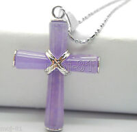 Natural Light Purple Jade 18K White Gold Plated Cross Pendant NO Chain