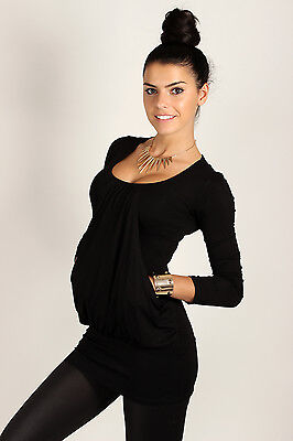 NEW Women's Top Blouse with Pockets Loose Tunic Scoop Neck Shirt Size 8-12 8141
